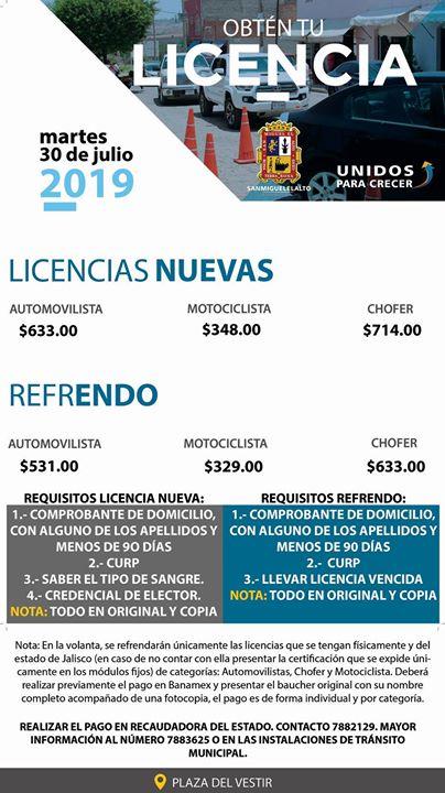 Licencia San Miguel El Alto Jalisco